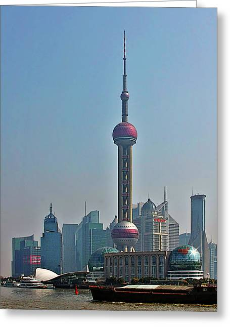 Oriental Greeting Cards - Pudong Shanghai Oriental Perl Tower Greeting Card by Christine Till