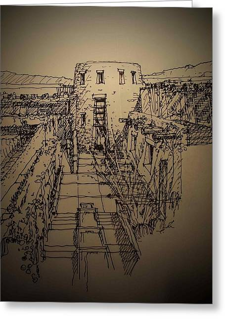 Pueblo Drawings Greeting Cards - Pueblo Greeting Card by Andrew Drozdowicz