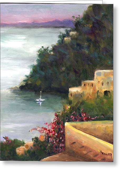 Sailboat Ocean Greeting Cards - Pueblo Bay Greeting Card by Linda Hiller