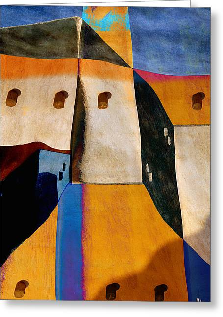 Rectangles Digital Art Greeting Cards - Pueblo Number 1 Greeting Card by Carol Leigh