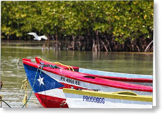 Mangrove Forest Greeting Cards - Puerto Rican Fishing Boats Greeting Card by George Oze