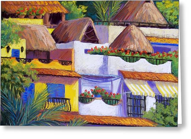 Beach Landscape Pastels Greeting Cards - Puerto Vallarta Hillside Greeting Card by Candy Mayer