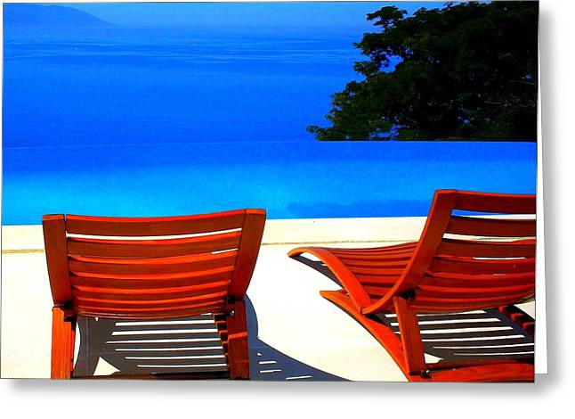 Oceanview Greeting Cards - Puerto Vallarta Pool Greeting Card by Randall Weidner