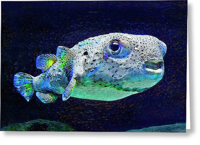 Porcupine Puffer Greeting Cards - Puffer Fish Greeting Card by Jane Schnetlage