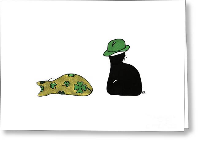 Picture Hat Drawings Greeting Cards - Puffie and Muffie St. Patricks Day Greeting Card by Rachel Lowry