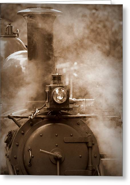 Autumn Photographs Greeting Cards - Puffing Billy in Sepia Tones Greeting Card by Tam Graff