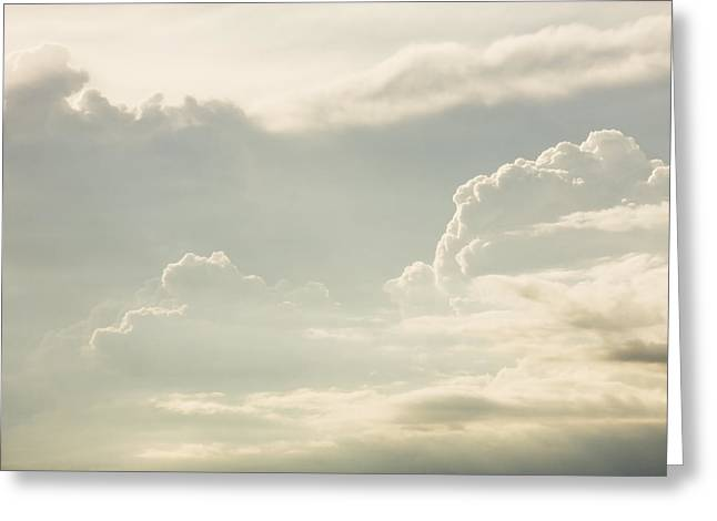 Skylights Greeting Cards - Puffy Clouds Thunder Heads Building Before Storm Photo Poster Print Greeting Card by Keith Webber Jr
