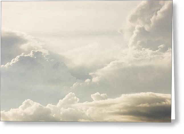 Skylights Greeting Cards - Puffy Clouds Thunder Heads Building Before Storm Photo Poster Prints Greeting Card by Keith Webber Jr