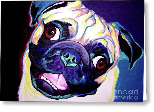 Alicia Vannoy Call Paintings Greeting Cards - Pug - Rider Greeting Card by Alicia VanNoy Call