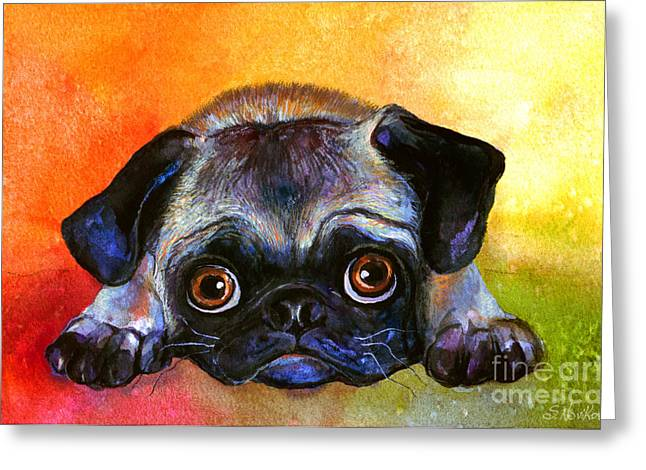Breeds Greeting Cards - Pug Dog portrait painting Greeting Card by Svetlana Novikova