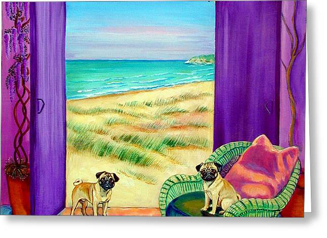 Pug Dreams Greeting Card by Lyn Cook