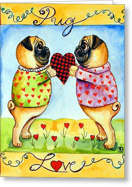 Animals Love Greeting Cards - Pug Love Greeting Card by Lyn Cook