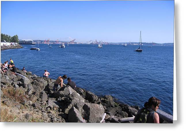 Sailboats In Water Greeting Cards - Puget Sound Blue Waters Greeting Card by Kym Backland