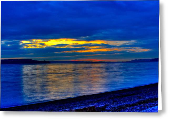 Ocean. Reflection Greeting Cards - Puget Sound Reflections Greeting Card by David Patterson