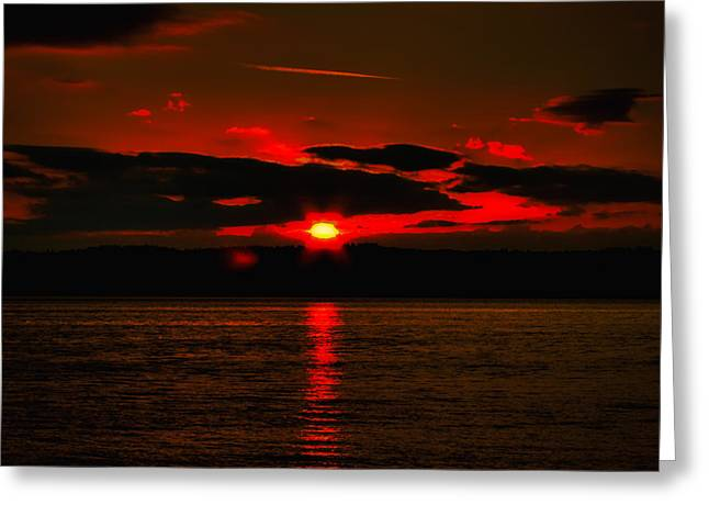 Ocean. Reflection Greeting Cards - Puget Sound Sunset Greeting Card by David Patterson