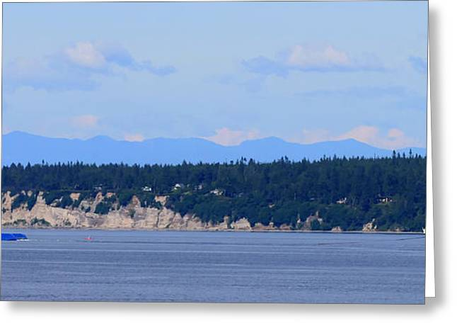 Boats On Water Greeting Cards - Puget Sound View Greeting Card by Tap  On Photo