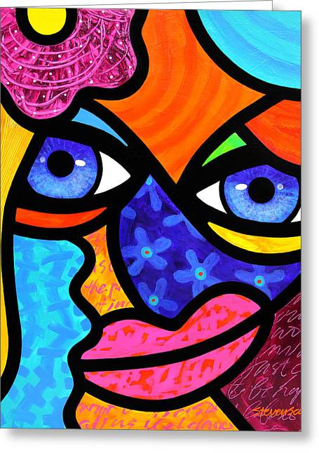 Abstract Faces Greeting Cards - Pull Yourself Together Greeting Card by Steven Scott