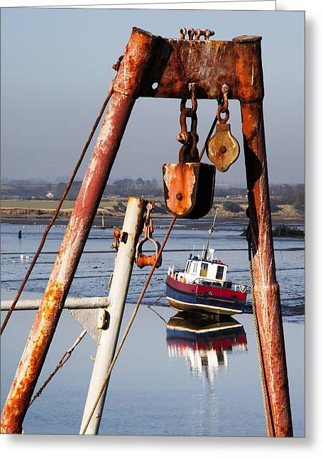 Water Vessels Greeting Cards - Pulley System On A Boat Greeting Card by John Short