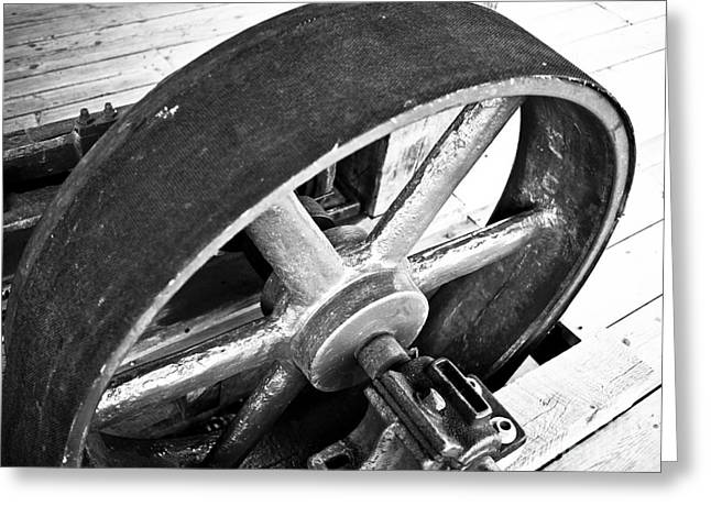 Deep River Greeting Cards - Pulley Wheel from Industrial Sawmill Greeting Card by Paul Velgos
