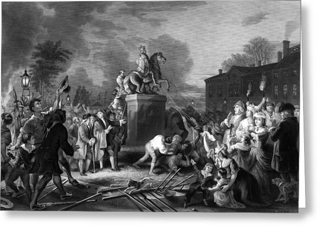 Revolutionary War Drawings Greeting Cards - Pulling down the statue of George III Greeting Card by War Is Hell Store