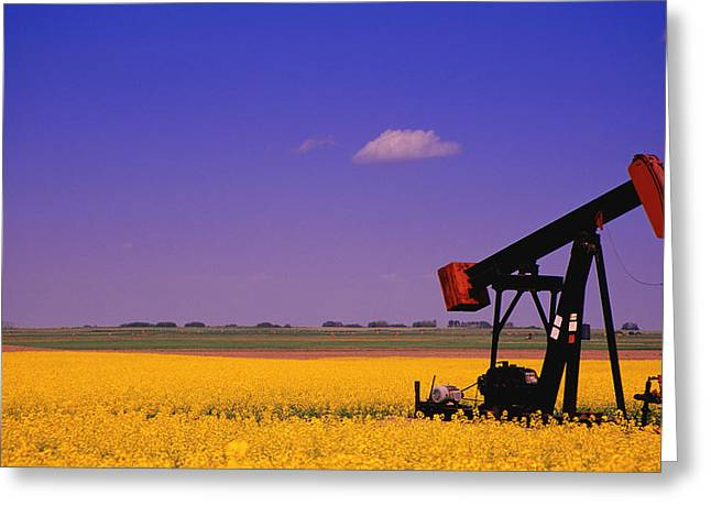 Crude Oil Greeting Cards - Pumpjack In A Canola Field Greeting Card by Carson Ganci
