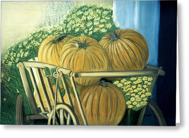 Pumpkins Pastels Greeting Cards - Pumpkin Cart in Boerne Greeting Card by Jan Amiss