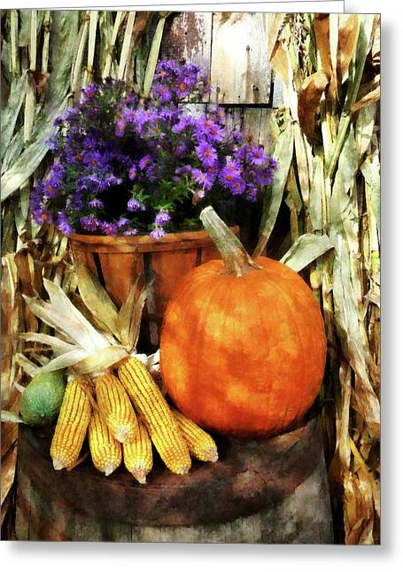 Corn Greeting Cards - Pumpkin Corn and Asters Greeting Card by Susan Savad