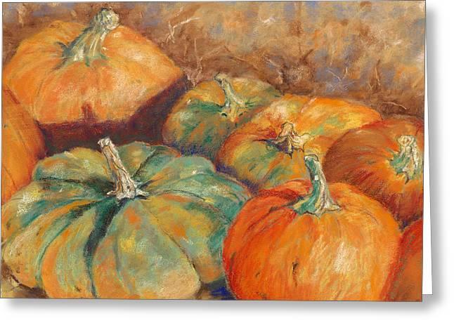 Pumpkins Pastels Greeting Cards - Pumpkin Harvest Greeting Card by Hilda Vandergriff