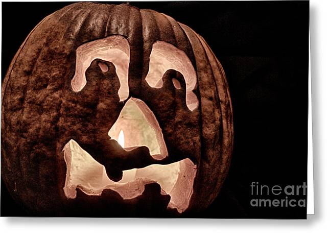 October Pyrography Greeting Cards - Pumpkin Melt Greeting Card by Ken Williams