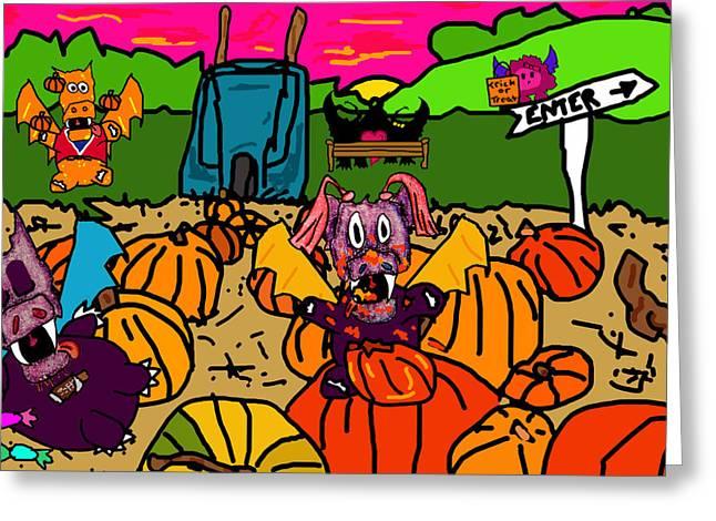 Puppies Digital Art Greeting Cards - Pumpkin Patch Greeting Card by Jera Sky