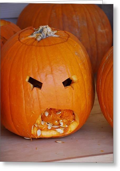 Jack O Lanterns Jackolantern Greeting Cards - Pumpkin Greeting Card by Thea Wolff