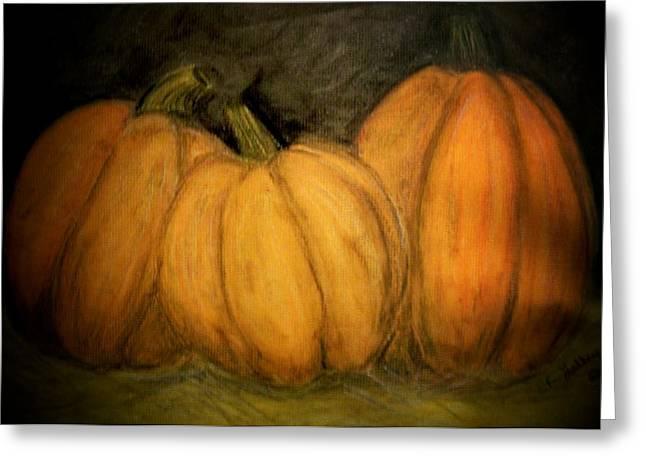 Pumpkins Pastels Greeting Cards - Pumpkin Time Greeting Card by Elizabeth Guilkey