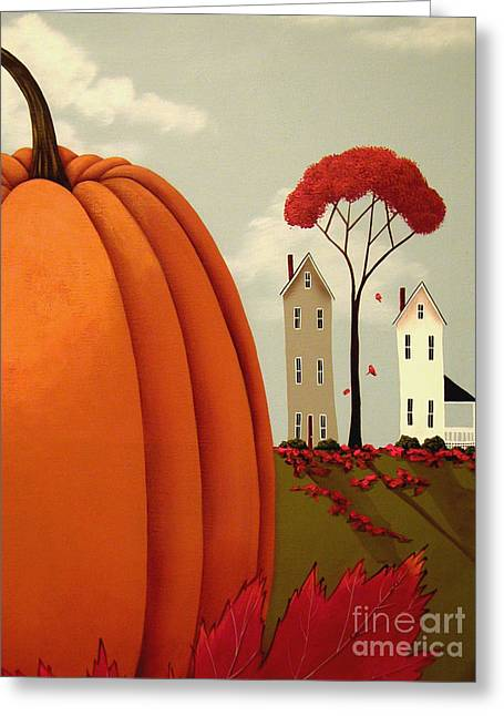 Autumn Autumn Folk Art Greeting Cards - Pumpkin Valley Greeting Card by Catherine Holman