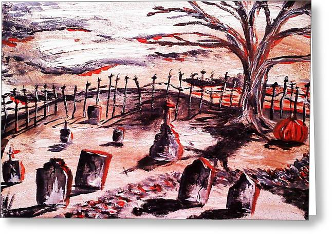 Cemetary Paintings Greeting Cards - Pumpkin19 Greeting Card by Paula Shaughnessy