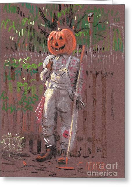 Pumpkins Drawings Greeting Cards - Pumpkin Scarecrow Greeting Card by Donald Maier