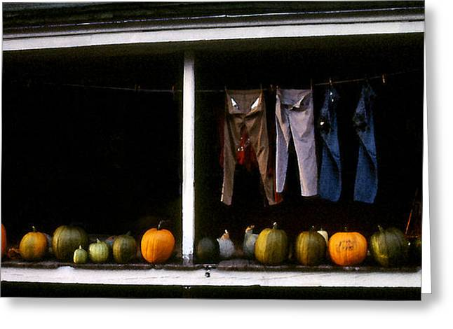 Washlines Greeting Cards - Pumpkins and a Washline Greeting Card by Wayne King