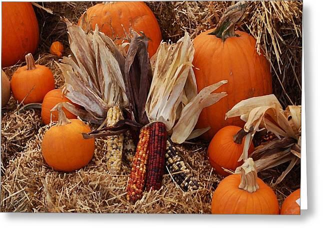 Watermelon Digital Art Greeting Cards - Pumpkins and corn Greeting Card by Michael Thomas