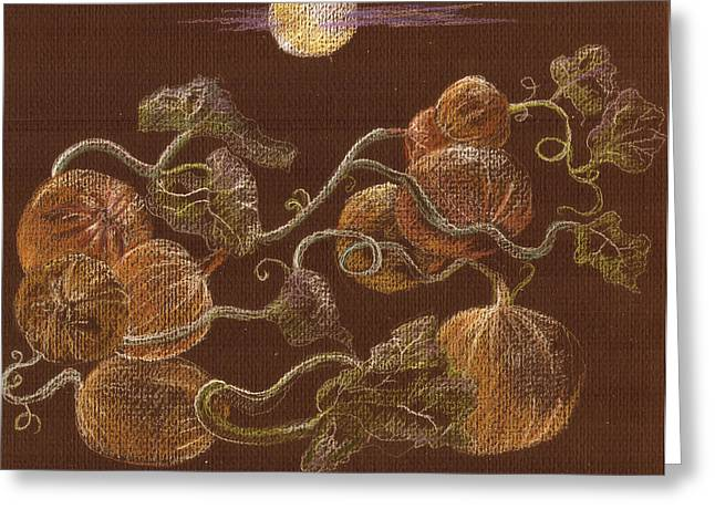Moonlit Night Drawings Greeting Cards - Pumpkins on a vine Greeting Card by Candace  Hardy