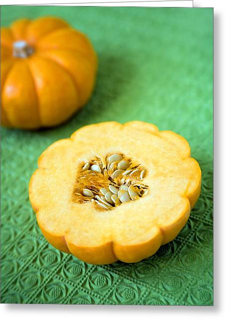 Mini Pumpkins Greeting Cards - Pumpkins Greeting Card by Veronique Leplat