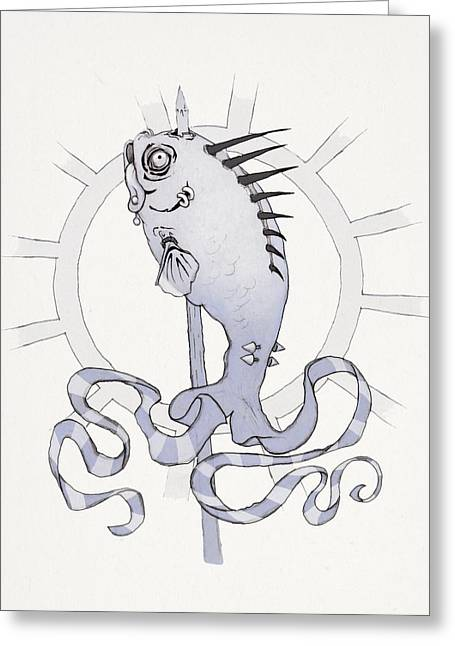 Striped Shirt Greeting Cards - Punk Fish Greeting Card by Ethan Harris