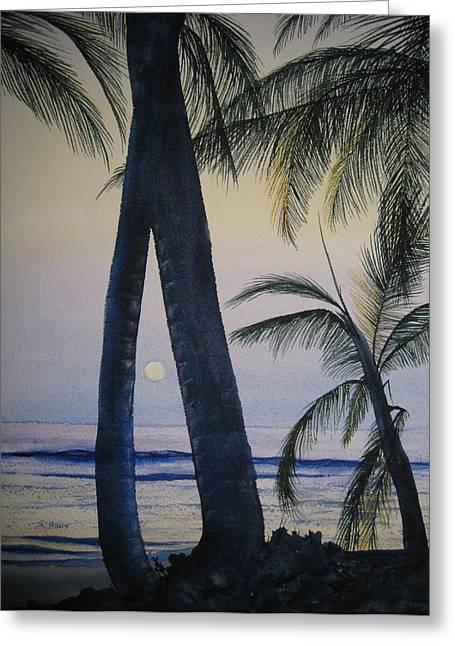Moon Beach Greeting Cards - Punta Cana Moon Greeting Card by Shirley Braithwaite Hunt