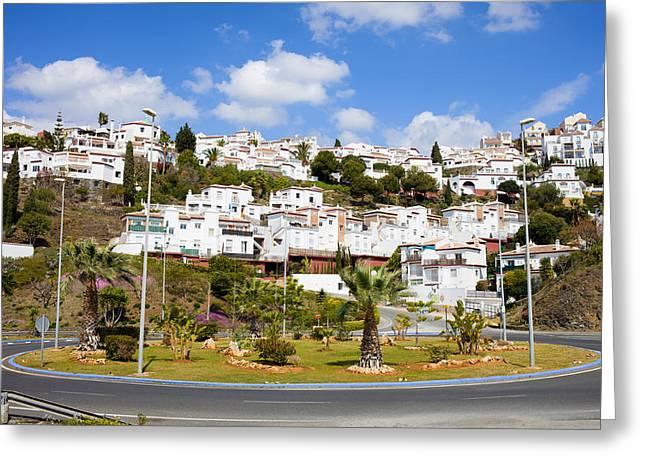 Road Travel Greeting Cards - Punta Lara Pueblo Blanco in Andalucia Greeting Card by Artur Bogacki