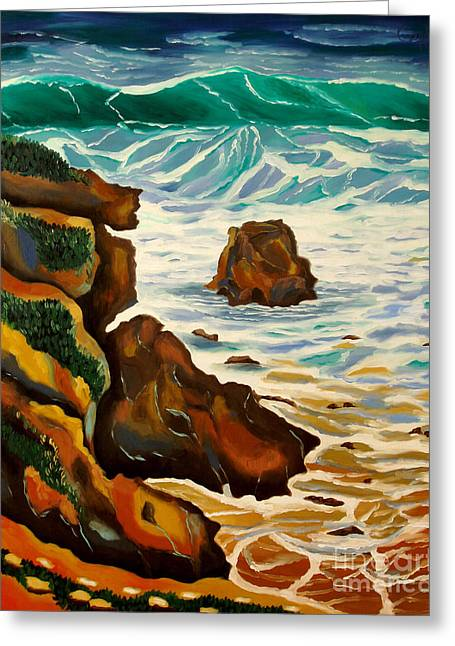 Rincon Paintings Greeting Cards - Punta Rincon Greeting Card by Milagros Palmieri