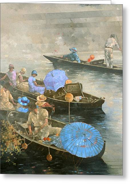 Punting Greeting Cards - Punts on the Wey at Brooklands Greeting Card by Peter Miller