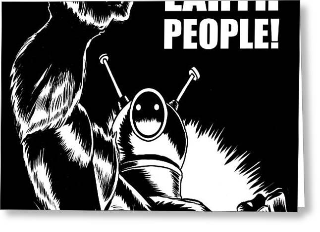 Puny Earth People Greeting Card by Ben Von Strawn