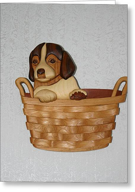Intarsia Sculptures Greeting Cards - Pup in basket Greeting Card by Bill Fugerer
