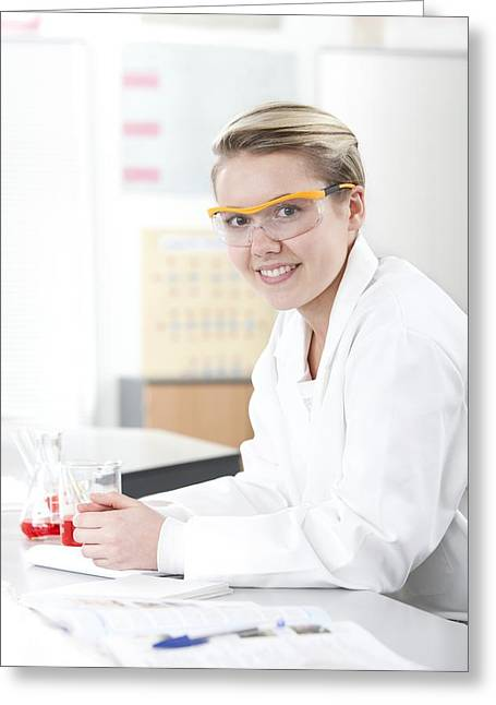 Lessons Greeting Cards - Pupil In A Science Lesson Greeting Card by