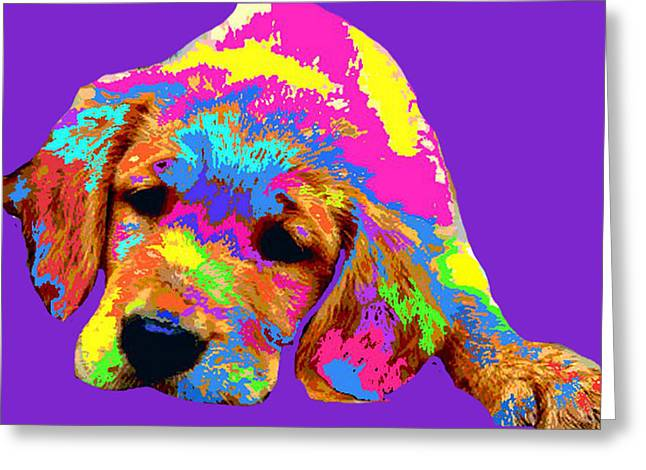 Puppies Digital Art Greeting Cards - Puppy  Greeting Card by Chandler  Douglas