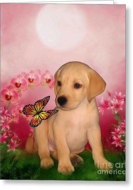 Puppies Mixed Media Greeting Cards - Puppy Innocence Greeting Card by Smilin Eyes  Treasures