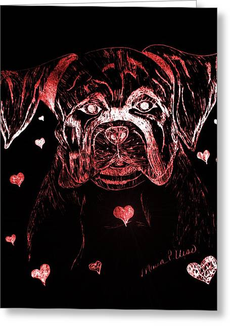Puppies Mixed Media Greeting Cards - Puppy Love Greeting Card by Maria Urso